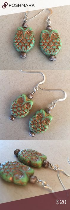 Czech Glass Owl .925 Sterling Dangle Earnings These earrings are handmade from Czech Glass Green Owl Beads, .925 Sterling silver ear wires and headpins.  I purchase all of my silver from Rio Grande to assure all of my handmade earwires are pure Sterling Silver. Thanks for looking Jewelry Earrings