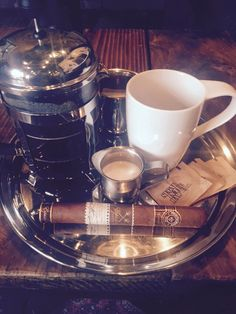 Cigars and coffee... I don't smoke but this sure is calling my name as part of retirement life LOL #retiredat40