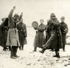 Eastern Front of WWI - Russians are teaching German war prisoners to dance, Eastern front, Russia, 1915