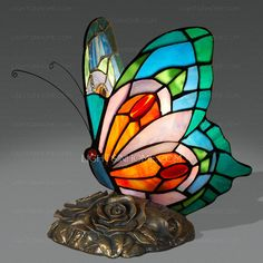 Vintage Stained Glass Resin Base Tiffany Butterfly Lamp