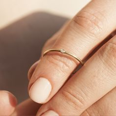 Small Diamond ring, GOLD, Dainty Ring, Tiny Ring, Really Thin Rings, Stackable Engagement Ring, Simple Engagement Ring, Simple Diamond Ring