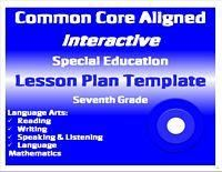Combined K Common Core Special Education Interactive Lesson Plan - Special education teacher lesson plan template