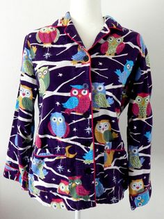 Retired Nick & Nora Sleepwear Top Long Sleeves Pajama Shirt Owls Women's…