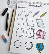 60 How to Doodle Tutorials for Your Bullet Journal. - - 60 How to Doodle Tutorials for Your Bullet Journal… – 60 How to Doodle Tutorials for Your Bullet Journal… – Bullet Journal Notes, Bullet Journal Aesthetic, Bullet Journal 2019, Bullet Journal Ideas Pages, Bullet Journal Inspiration, Back To School Bullet Journal, Simple Doodles, Cute Doodles, Food Doodles