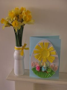 easter card using cupcake cases