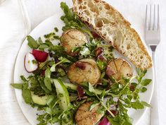 #FNMag's Scallops With Watercress Salad #Veggies #Grain #Protein #MyPlate