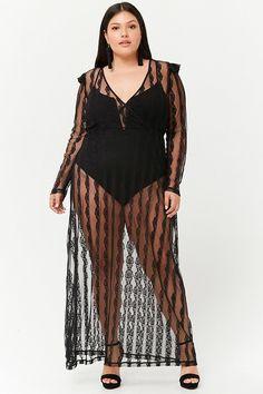 3582fc31b3a01 Plus Size Sheer Lace Surplice Maxi Dress
