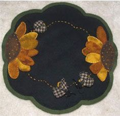 Sweet Nectar Penny Rug Candlemat   Designed & stitched by Jan Mott of Crane Design. Check out my blog spot to see shops that offer this pattern.
