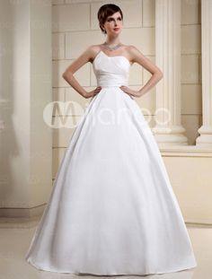 Ivory A-line Strapless Pleated Taffeta Bridal Wedding Dress    Item Code:#03920236438