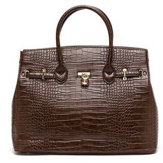 BROWN Large Scale Structured Bag ($16) ❤ liked on Polyvore featuring bags, handbags, shoulder bags, purses, сумки, brown, faux leather purses, shoulder strap handbags, hand bags and vegan handbags