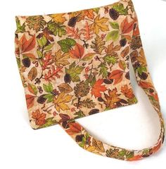 Small Messenger Bag | Autumn Leaves  Print Messenger Bag | Small Cross Body Bag | Magnetic Closure Messenger Bag by Bags and Purses by Beth, $46.00 USD