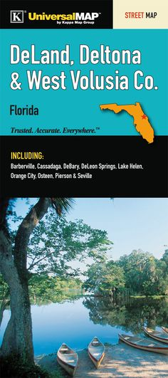 DeLand/Orange City/Deltona Florida Fold Map (Set of Disney World Theme Parks, Walt Disney World, Deltona Florida, Orange City, Park Resorts, Wall Maps, Florida Travel, Universal Studios, Day Trips