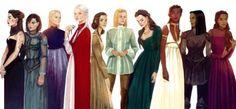 Kaltain, Sorrel, Asterin, Manon, Elide, Aelin, Lysandra, Nehemia, Nesryn and Sorscha.