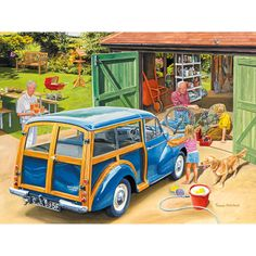 Shop Bits and Pieces jigsaw puzzle store for kids and adults! The granddaugher washes grandpa's car while grandpa fixes her brother's bike 300 piece jigsaw puzzle by artist Trevor Mitchell measures 18 x Ravensburger Puzzle, Morris Traveller, Morris Minor, Puzzle Art, Cartoon Art Styles, 5d Diamond Painting, Illustrations, Vintage Posters, Vintage Art