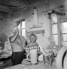 Pablo Picasso and Marc Chagall at the Madoura ceramics workshop in Vallauris,1948