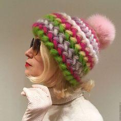 Шапка  Гиацинт вязаная, шапка вязанная из мохера, теплая, женская.