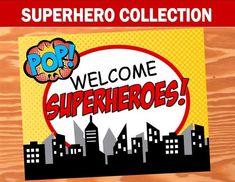 SUPERHERO Party- COMIC HERO Party- Superhero Birthday- WELCOME SIGN- Comic Party
