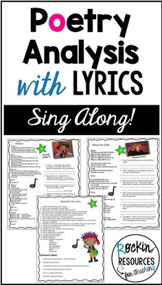 Want to motivate your students to learn poetry elements? Analyze lyrics from a variety of artists! There are ten song lyrics with artist, song title and questions to follow. Also included is a general list of questions to analyze poetry elements with any song. Some poetry elements included in the questions are ★ Rhyme Scheme ★ Poet's purpose ★ Figurative Language ★ Mood/Tone ★ Meaning of the Lyrics.