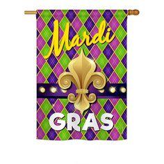 Mardi Gras Fleur De Lys House Flag