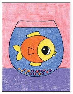 How to Draw a Fish Bowl · Art Projects for Kids Easy Fish Drawing, Fish Drawing For Kids, Nature Drawing For Kids, Drawing Pictures For Kids, Drawing Lessons For Kids, Easy Drawings For Kids, Fish Drawings, Painting For Kids, Art For Kids