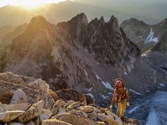Picture of climber hiking up to the Bugaboo Spire in British Columbia, Canada