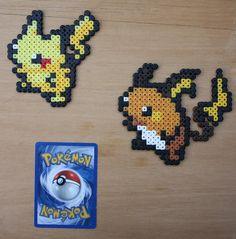 Pokemon - Mini Bead Sprites Pikachu Raichu by strepie93