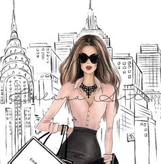 """""""Unique hand drawn New York theme fashion wall art print with shopping girl in NYC. This fashion illustration in black and white colors could be a nice addition to your NYC inspired room, or a nice gift to New York lover friend. This is a print - copy of my original artwork drawn with soft pastel and watercolor pencils. Available in 3 different sizes: 4x6inches, 5x7 inches, 8.5x11 inches 11x17 inches 16x20 inches Frames are NOT included PERSONALIZATION: **You can choose an option of skin tone an Fashion Design Drawings, Fashion Sketches, Dress Sketches, Meaningful Paintings, New York Illustration, New York Theme, Fashion Wall Art, Girls Shopping, New York Fashion"""
