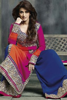 Sonali Bendre Collection - Multicolour Crepe Salwar kameez - [Shipped within 1 Day]