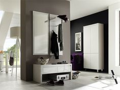 Garderobenkombination Bianco I 3tlg. Hochglanz weiß passend zum Möbelprogramm Bianco Kombination bestehend aus: 1 x Wandspiegel mit Facettenschliff B/H/T ca. 51 x 121 x 2 cm 1...