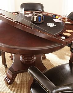 Tournament Poker Game Table with Black Caster Chairs