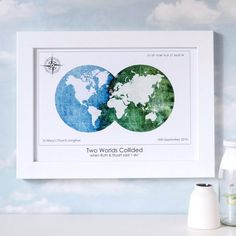 'Two worlds collided' for two people on a certain date at a special place marked with a heart. Perfect #anniversary or #weddinggift