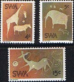 South West Africa 1974 Twyfelfontein Rock-engravings Set Fine Mint SG 264 6 Scott 367 9 Other African and British Commonwealth Stamps HERE! Painting Words, Buy Stamps, Postage Stamp Art, African Animals, Handmade Books, West Africa, Stamp Collecting, Craft Work, My Animal