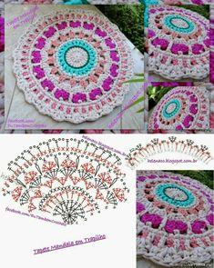 Bildergebnis für mandalas tejidos al crochet patrones Crochet Mandala Pattern, Crochet Circles, Crochet Diagram, Crochet Stitches Patterns, Crochet Chart, Crochet Squares, Crochet Diy, Crochet Pillow, Crochet Round