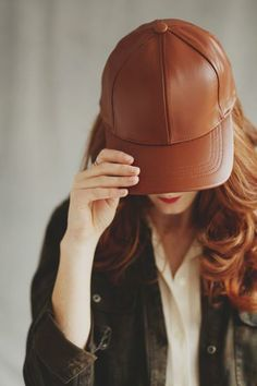 Leather Cap in Camel <3 www.mooreaseal.com