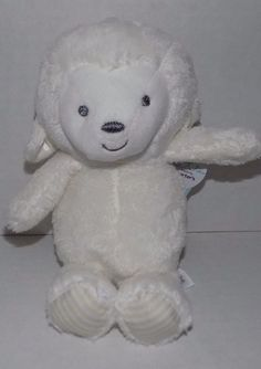 """NWT 9"""" Carters White RATTLE Lamb Plush Target Precious Firsts 66841 Striped Feet #Carters"""