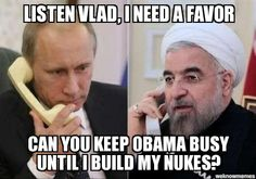 Love this meme of Rouhani asking Putin for a distraction with Obama so Iran can keep its nuclear program going. So true! These two really do deserve each other.