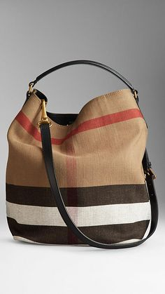 Medium Check Canvas Hobo Bag | Burberry