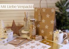 kukuwaja: Mit Liebe Verpackt - Kraftpapier in Kombi mit Gold/Weiß/Beige