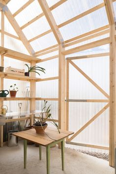 Project: House for Architect's Mother Architect Forstberg Ling Location: Linkoping, Sweden Photographer: Markus Linderoth House Design Serre Polycarbonate, Polycarbonate Greenhouse, Plywood Kitchen, Sweden House, Greenhouse Plans, Backyard Greenhouse, Exposed Wood, Lofts, Outdoor Rooms