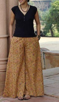 Handprinted extra flared palazzo pants in delightful Kalamkari prints