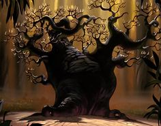 Ugly fern gully tree with rugs hanging all over it. OC comes as oily Hexxus from within. He see tiny OB fairy flying around. OC smashes him. Fern Gully, Best Halloween Movies, From Here To Eternity, Dark Tree, Animation Background, Big Tree, Environment Design, Disney Dream, Disney Drawings