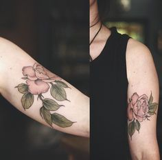 Botanical peony tattoo by Alice Carrier • Wonderland Tattoo • Portland, Oregon