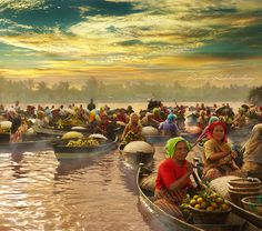 Morning Floating Market   South Borneo , Beauty Indonesia Culture . - I Love Indonesia - SouthEast Asia #IndoChina