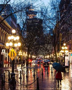 Time is Precious This time last year rain in the streets of Vancouver's Historic Gastown. The street lights on Water Street reflect off the wet cobblestone as pedestrians scurry to get out of the rain. Throwback Thursday captured in Vancouver British Columbia Canada March 11 2015