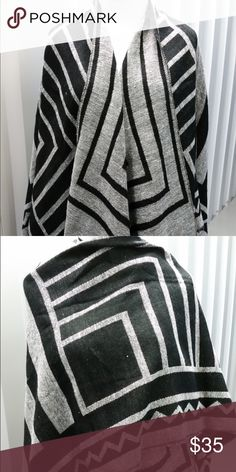 Black and Gray Poncho Gray and Black Scarf/shawl. Big enough to serve as a blanket but not too big. 😊 Accessories Scarves & Wraps