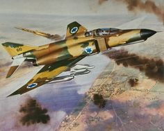 Israeli McDonnell Douglas Phantom evading Egyptian anti-air missile during the Yom Kippur War F4 Phantom, Aircraft Painting, Airplane Art, Cross Art, Military Art, Military Uniforms, World Images, Cross Paintings, Aviation Art