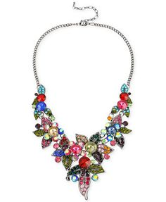 Haskell Hematite-Tone Mixed Multicolored Crystal Flower Frontal Statement Necklace