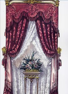 Curtains from my favorite book of Curtains. Luxury Curtains, Drapes Curtains, Valance, Bedroom Curtains, Drapery, Victorian Curtains, Victorian Windows, Window Cornices, Window Coverings