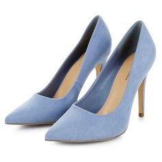 Pale Blue Pointed Court Shoes ($28) ❤ liked on Polyvore featuring shoes, pumps, pointy toe stilettos, pointy shoes, pointed-toe pumps, pointed shoes and stilettos shoes