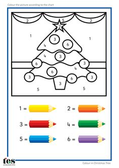 Simple colour by numbers Christmas pictures with clear visuals. Each uses 6 colo. - Simple colour by numbers Christmas pictures with clear visuals. Each uses 6 colours. Christmas Worksheets, Christmas Math, Christmas Activities For Kids, Preschool Christmas, Thanksgiving Activities, Colorful Christmas Tree, Christmas Colors, Christmas Themes, Christmas Color By Number